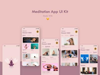 Meditation App excercise yoga events sleep podcast music meditation app ui app design minimal design