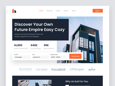 Real Estate - Hero Section building real estate house apartment realestate modern minimalist uiux user interface userinterface uidesign ui