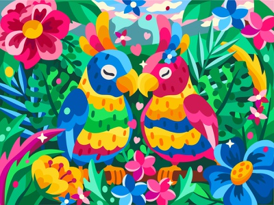 Two parrots 2dillustration app flower flat vector art adobe illustrator vector illustration graphic design