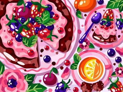 Berry cake cakes flower berry fruit tea cake food and drink food flat vector art adobe illustrator vector illustration graphic design