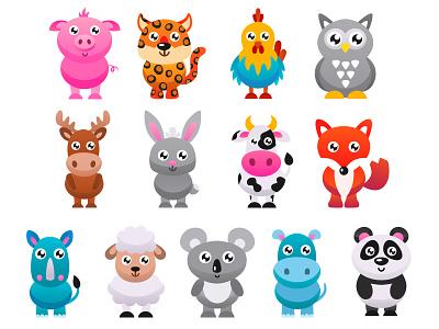 Cute animals set. Part 1 rooster sheep rhino fox rabbit pig cute animal animal illustration kids illustration kids app vector art adobe illustrator vector illustration graphic design