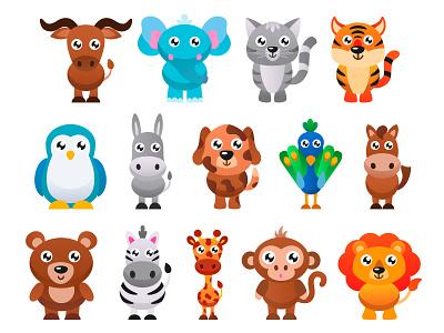 Cute animals set. Part 2 monkey horse set elephant zebra bear dog cat lion kids illustration animal illustration animal app adobe illustrator vector illustration graphic design