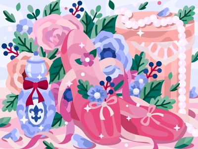Pointe shoes rose beads parfume ballerina shoes flower flat vector art adobe illustrator vector illustration graphic design