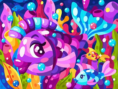 Underwater life. Part 1 vector illustration game art 2dillustration magic coral reef fish ocean sea kids illustration flat vector art adobe illustrator vector illustration graphic design