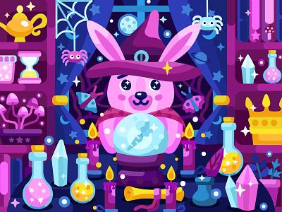 Magician rabbit vector illustration star moon magic ball carrot mobile app kids app kids illustration 2dillustration rabbit magician flat vector art adobe illustrator vector illustration graphic design