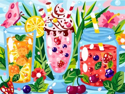 Refreshing drinks summer lemonade smoothie milkshake tea 2dillustration food and drink food flower flat vector art adobe illustrator vector illustration graphic design