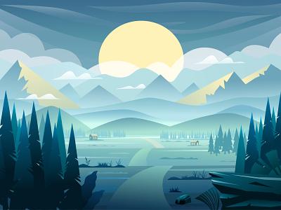 Mountain landscape sun mountains forest sunrise landscaping landscape mountain vector art adobe illustrator vector illustration graphic design