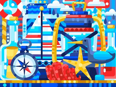 Sea nature morte flat design 2dillustration abstract still life sea flat vector art adobe illustrator vector illustration graphic design