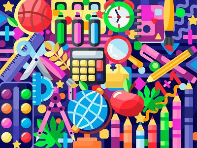 School stuff apple crayons pencil stuff school 2dillustration flat vector art adobe illustrator vector illustration graphic design