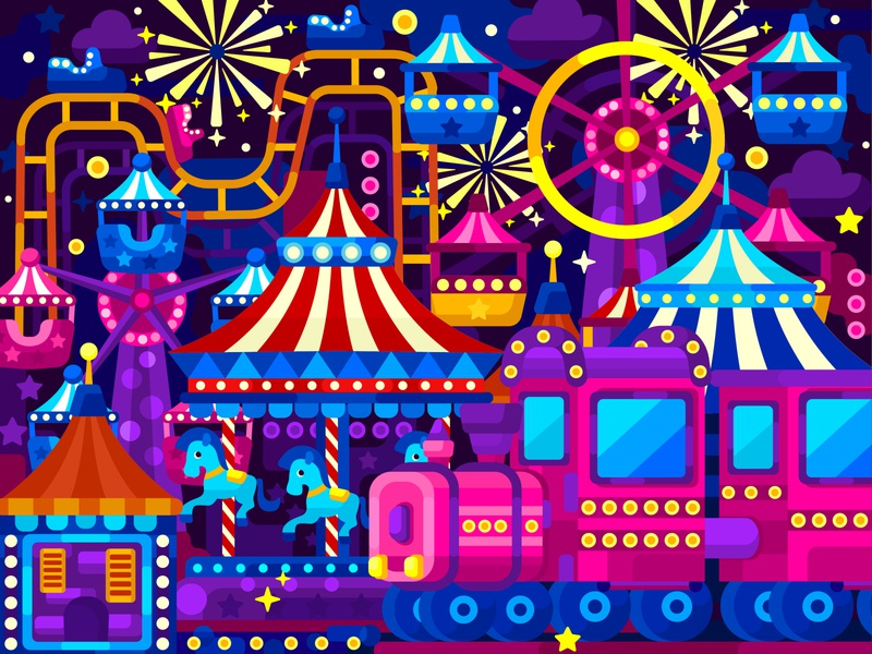 Lunapark digital illustration digital painting app lunapark flat vector art adobe illustrator vector illustration graphic design