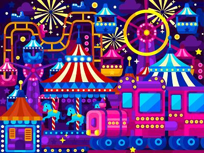 Lunapark digital illustration digital painting app lunapark flat vector art adobe illustrator vector illustration graphic design