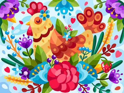 Flower chicken bird animal chicken 2dillustration flower flat vector art adobe illustrator vector illustration graphic design
