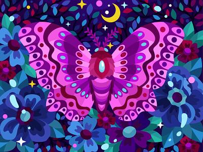 Fluffy moth moon butterfly moth animal 2dillustration flower flat vector art adobe illustrator vector illustration graphic design