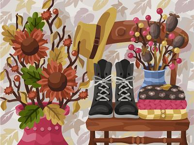 Autumn chair boots leaf dry flower autumn 2dillustration flower flat vector art adobe illustrator vector illustration graphic design