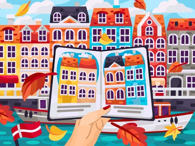 Autumn Copenhagen sketchbook autumn denmark europe kopenhagen 2dillustration flat vector art adobe illustrator vector illustration graphic design