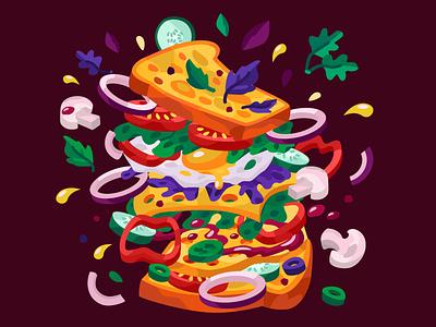Tasty sandwich vegetable bread sandwich breakfast food food and drink 2dillustration flat vector art adobe illustrator vector illustration graphic design