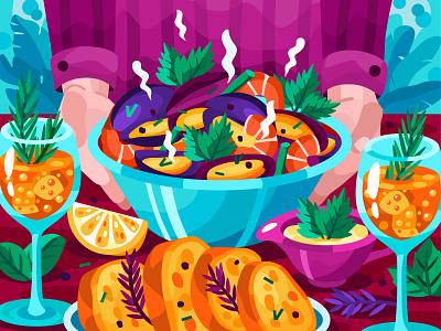 Hot mussels restaraunt mussel prawn flat app food and drink food vector art adobe illustrator vector illustration graphic design