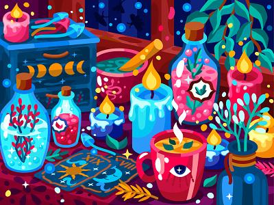 Witch corner night moth decoration tarot card magic witch moon mushroom herbs tea candle tarot 2dillustration flat vector art adobe illustrator vector illustration graphic design