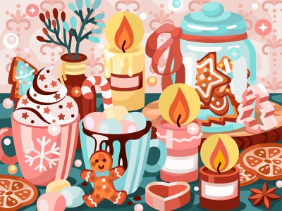 Cozy Christmas morning digital illustration cookie christmas candle marshmallow chocolate cacao yummy app food 2dillustration flat vector art adobe illustrator vector illustration graphic design