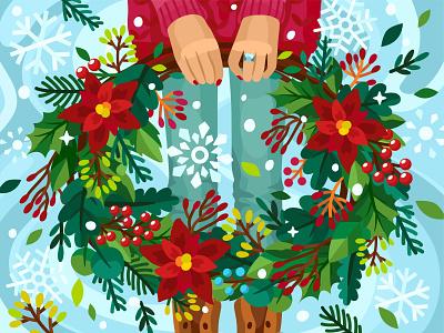 Christmas wreath wreath christmas card christmas 2dillustration flower flat vector art adobe illustrator vector illustration graphic design