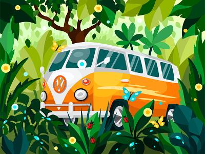 Lost in the wild adventure spring summer car jungle wilderness nature volkswagen van 2dillustration flower flat vector art adobe illustrator vector illustration graphic design