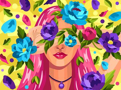 Spring girl spring girl 2dillustration flower flat vector art adobe illustrator vector illustration graphic design