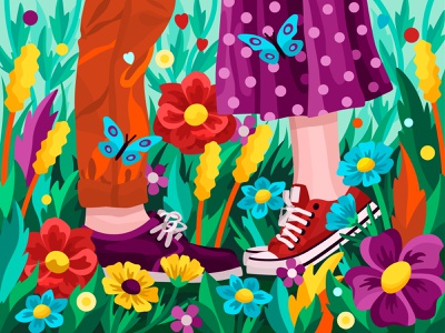Spring love butterfly nature flowers couple legs girl woman man snickers love 2dillustration flower flat vector art adobe illustrator vector illustration graphic design