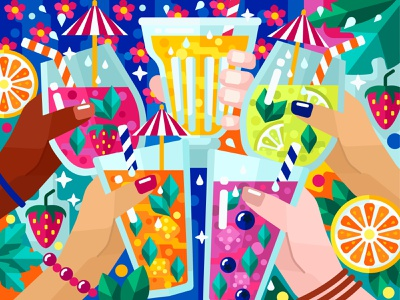 Refreshing lemonades cocktail juice lemonade food and drink food flower flat vector art adobe illustrator vector illustration graphic design