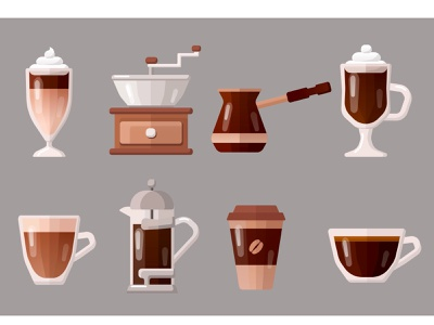 Coffee icons icon coffee food food and drink flat vector art adobe illustrator vector illustration graphic design