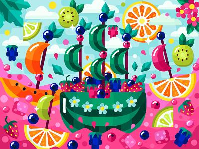 Fruit fleet kids illustration app berry fruit food food and drink 2dillustration flower flat vector art adobe illustrator vector illustration graphic design
