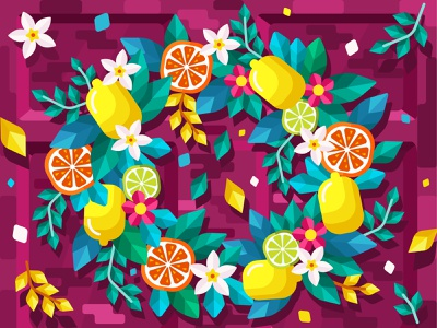 Citrus wreath orange lemon spring wreath app design food 2dillustration flower flat vector art adobe illustrator vector illustration graphic design