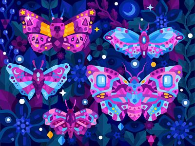 Mystical moths flower animal moth game flat vector art adobe illustrator vector illustration graphic design