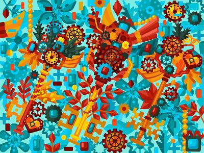 Steampunk keys gameillustration steampunk key flat vector art adobe illustrator vector illustration graphic design