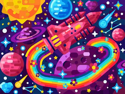 Rainbow trace flower rocket cosmos space flat vector art adobe illustrator vector illustration graphic design