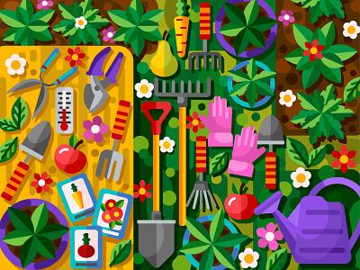 Happy garden plant gardening spring garden flat vector art adobe illustrator vector illustration graphic design graphic design