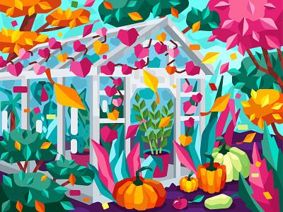 Autumn plant leaves tree greenhouse pumpkin garden autumn flat vector art adobe illustrator vector illustration graphic design