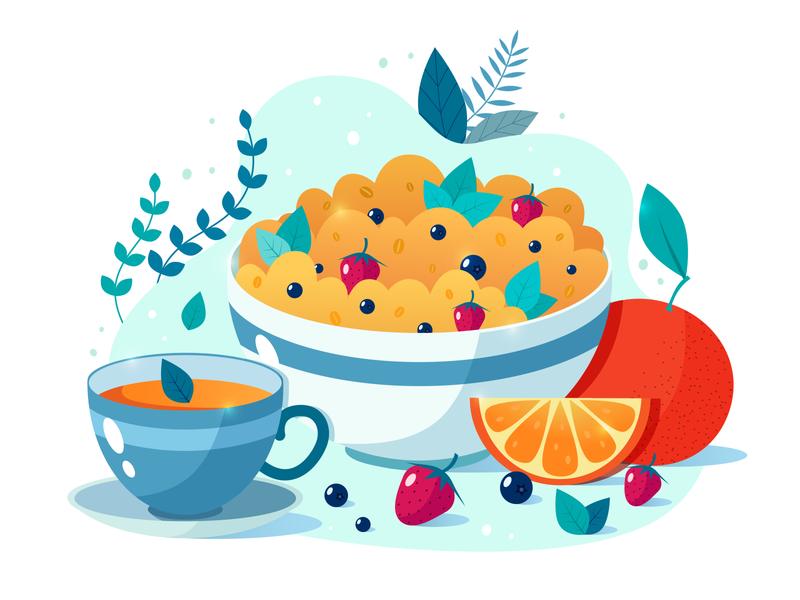 Breakfast vectorart healthyfood oats tea cereal breakfast healthy food adobe illustrator vector illustration graphic design