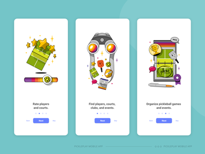 Pickle Play Onboarding Screens graphic design graphic flat design flat illustration minimal clean design clean ui clean branding artist artwork art illustrator 2d illustration 2d design 2d art 2d onboarding screen onboarding ui onboarding