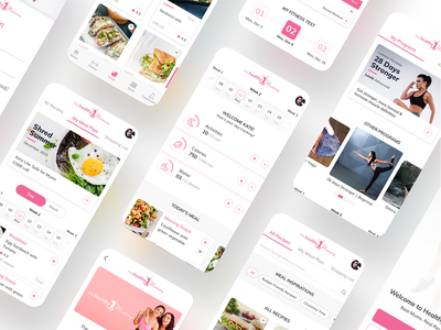 The Healthy Mummy User Experience typography branding illustration vector 3d food app food ux user experience user interface video calendar ui calendar on demand app ecommerce health fitness design