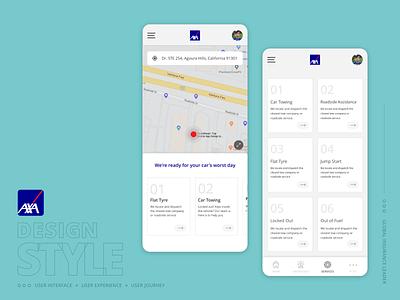 AXA Roadside Assistance support ondemand car insurance insurance company axa uxdesign uiux ux user interface design user interface