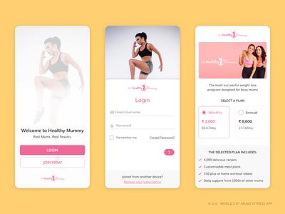 Login Journey : World #1 mums fitness mobile app fitness app diet app diet user experience uiux mummy healthcare health fitness axa