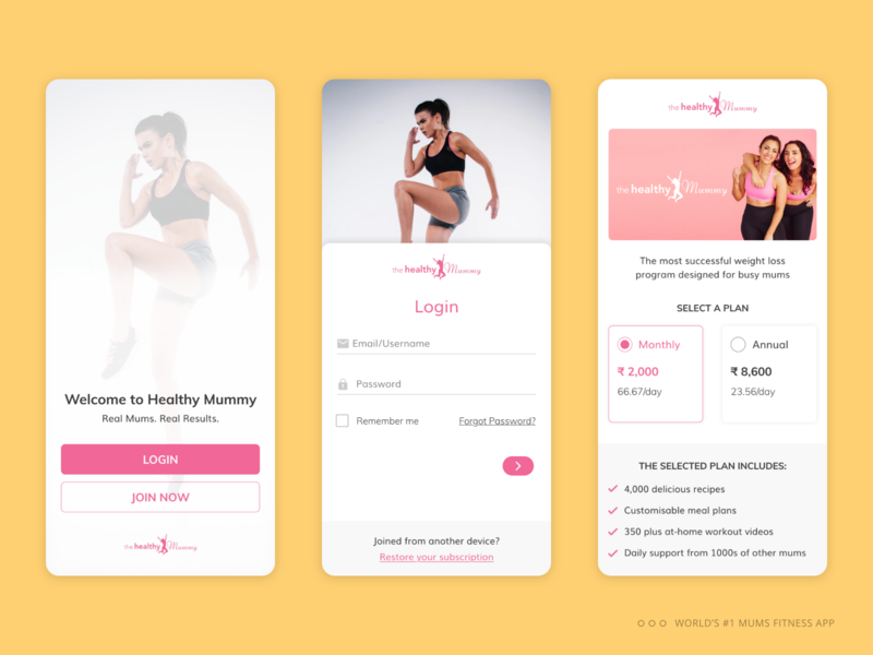 Login Journey : World #1 mums fitness mobile app