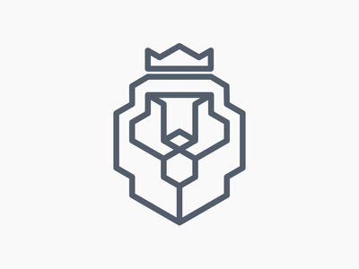 Lion Head crown hexagon lion logo lion king lion head design vector illustrator icon flat logo creative concept minimalist logo modern logo logo design