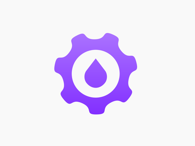 Gear + Water icon vector bold logo illustrator icon creative minimalist logo flat logo modern logo logo design construction logo water drop gear plumbing plumber