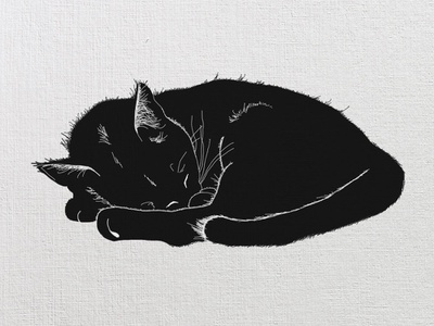 Inktober #2 - Tranquil black cat inktober wacom black and white napping cat tranquility inktober2018
