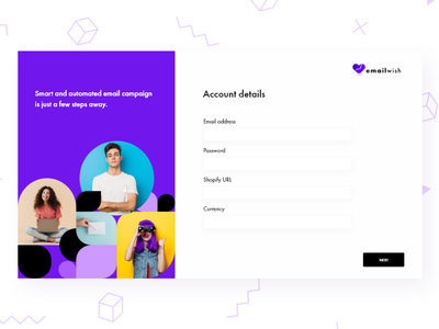 Signup Form For Emailwish login screen onboarding screen onboarding screens onboarding ui on boarding sign up signup onboarding login form login page login cards ui cards colored shadow cheerful design branding