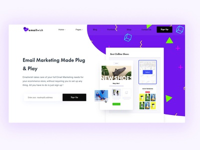 Landing banner page for Emaiwish website email design email webdesign website builder landing page design landing design landingpage landing page landing website concept website design websites website colorful app cards ui cards colored shadow cheerful design branding