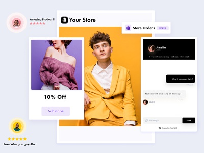 Emailwish app ecommerce business ecommerce app ecommerce shopify store shopify marketing shopify plus shopify dropshipping store dropshipping dropship cards ui cards cheerful design colored shadow branding