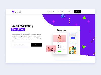 Emailwish Landing page email marketing saas shopify landing page