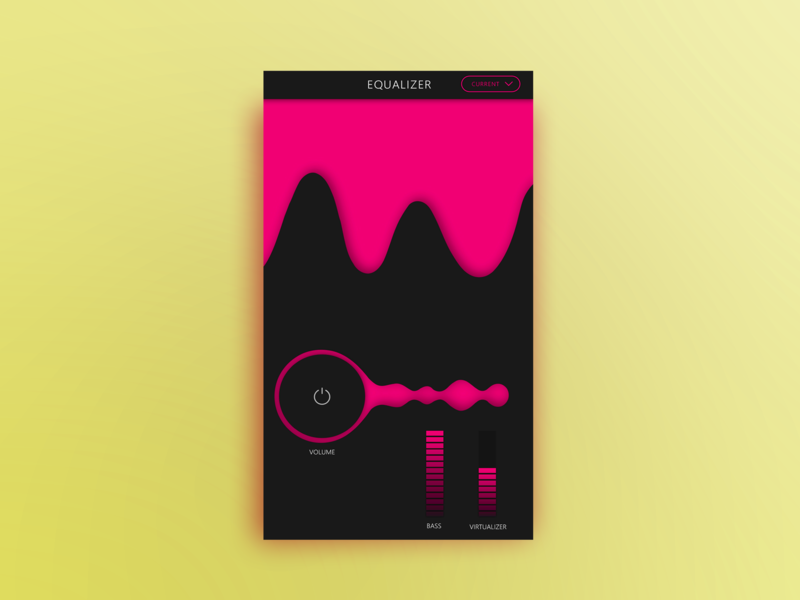 Equalizer for mobile app Musiq X colorful app cheerful yellow android app development android app design android app app equalizer dark app audio ui ux music design